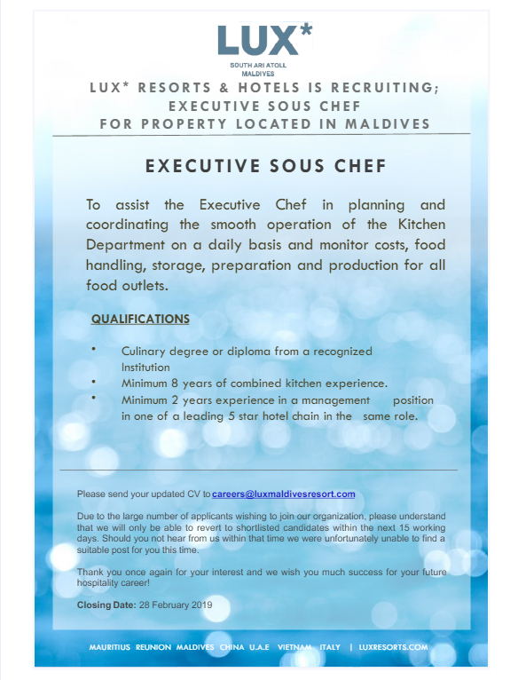 Job Description Executive Sous Chef