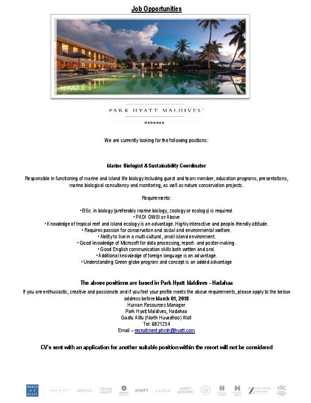 Marine Biologist  Sustainability Coordinator Job In Park Hyatt