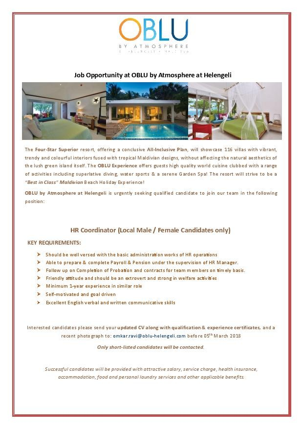 Hr Coordinator Job In Oblu By Atmosphere At Helengeli Maldives