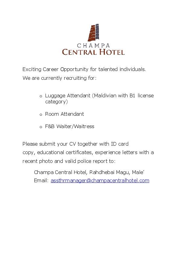 Room Attendant Jobs In Male Maldives At Champa Central Hotel