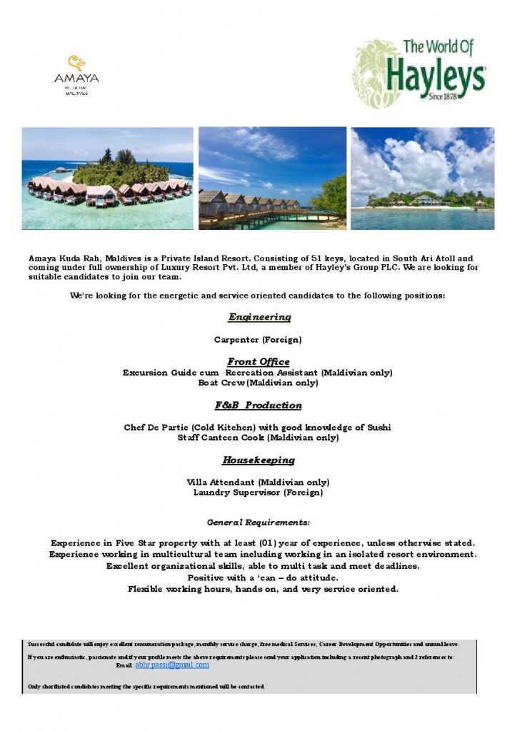 Chef De Partie (Cold Kitchen) Jobs in South Ari atoll