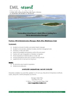 HR & Administration Manager (Maldivian only)