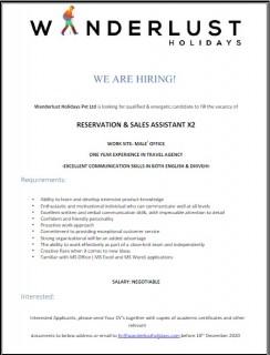 Reservation & Sales Assistant X2