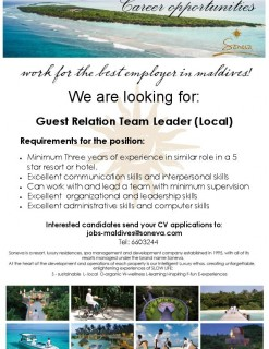 Guest Relation Team Leader (Local)