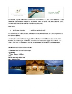 Sand Barge Operator (Maldivian only)
